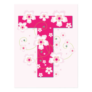 Anfangst hübsche rosa Blumenpostkarte des Postkarte