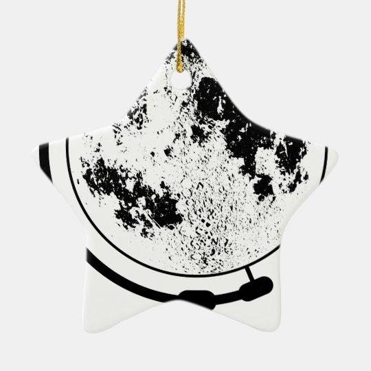 Angebrachte Mondkugel auf drehendem Schwenker Keramik Stern-Ornament