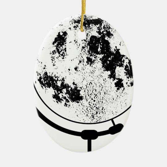 Angebrachte Mondkugel auf drehendem Schwenker Ovales Keramik Ornament