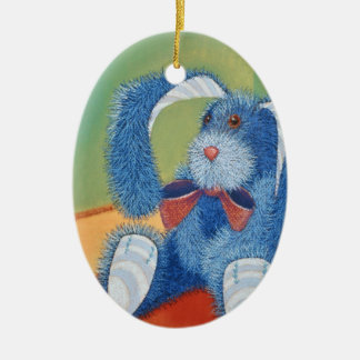 angefülltes blaues Häschen, Kaninchen Ovales Keramik Ornament