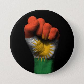 Angehobene geballte Faust mit kurdischer Flagge Runder Button 7,6 Cm