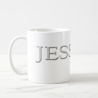 Angehobener silberner Name Jessicas Gewohnheit Kaffeetasse