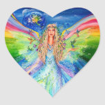 Angel of Peace Heart Stickers