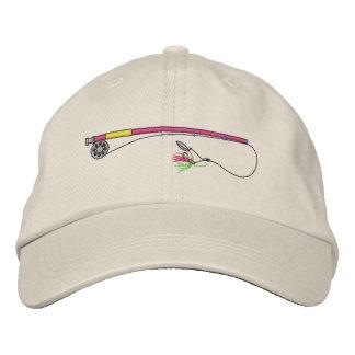 Angelrute mit Fliege Bestickte Mütze