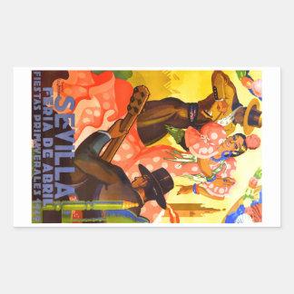 Angemessenes Plakat 1949 Spaniens Sevilla April Rechteckiger Aufkleber