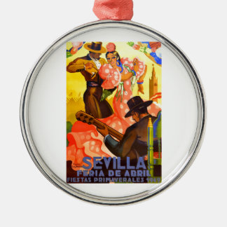 Angemessenes Plakat 1949 Spaniens Sevilla April Silbernes Ornament