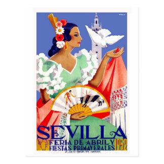 Angemessenes Plakat 1952 Sevillas Spanien April Postkarte