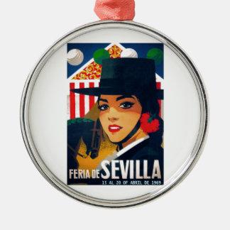 Angemessenes Plakat 1969 Spaniens Sevilla April Silbernes Ornament