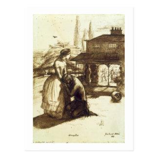 Angenommen, 1853 (Stift u. braune Tinte auf Postkarte
