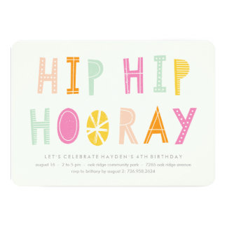 Angesagte angesagte Hooray Geburtstags-Einladung - 12,7 X 17,8 Cm Einladungskarte