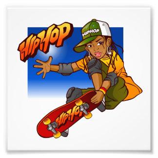 Angesagter Hopfenmädchen Skateboard Cartoon Fotografien