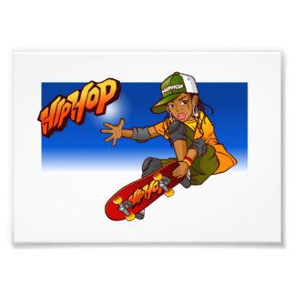 Angesagter Hopfenmädchen Skateboard Cartoon Photodruck