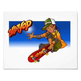 Angesagter Hopfenmädchen Skateboard Cartoon Photo