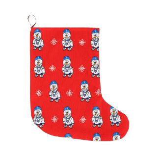 Angesagter Hopfenrapper-Snowman und Schneeflocken Großer Weihnachtsstrumpf