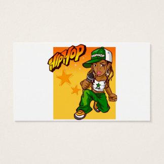 angesagter Hopfenrappermädchengrün-Orangen-Cartoon Visitenkarten
