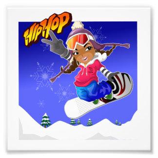 Angesagtes HopfenCartoon-Mädchen auf Snowboard Fotografien