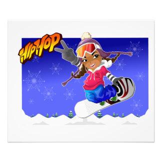 Angesagtes HopfenCartoon-Mädchen auf Snowboard Kunst Photo