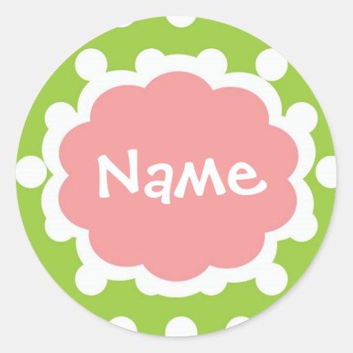 Angesagtes Mädchen Customizalbe Namensaufkleber Runder Sticker