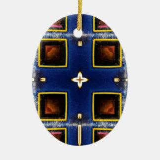 Angesagtes männliches blaues geometrisches Muster Ovales Keramik Ornament