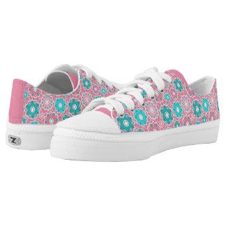 Angesagtes rosa Blumen- und Aqua Niedrig-geschnittene Sneaker