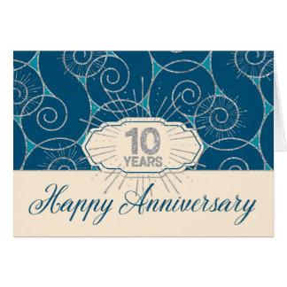 Angestellt-Jahrestag 10 Jahre - blauer Wirbel Karte