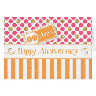 Angestellt-Jahrestag 15 Jahre orange Rosa- Karte