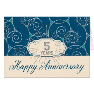Angestellt-Jahrestag 5 Jahre - blauer Wirbel Karte