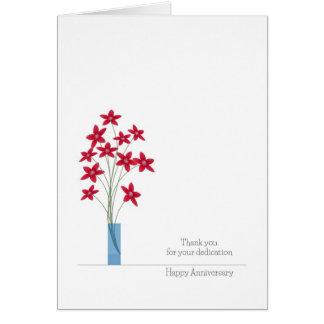 Angestellt-Jahrestags-Karten, niedliche rote Grußkarte