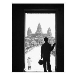 Angkor Kambodscha, Eingang u. Person Angkor Wat Postkarte