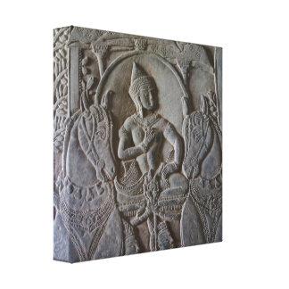 Angkor Mann und Pferdeflachrelief Leinwanddruck