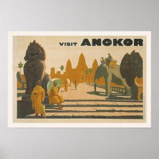 Angkor Wat Kambodscha Vintager Reise-Druck Poster