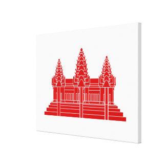 Angkor Wat Kambodschaner/Khmer-Flagge Leinwanddruck