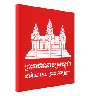 Angkor Wat Kambodschaner/Khmer-Flagge mit Motto Leinwanddruck