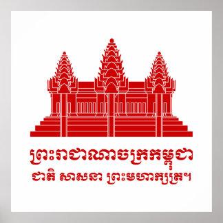 Angkor Wat Kambodschaner/Khmer-Flagge mit Motto Poster