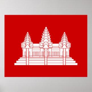 Angkor Wat Kambodschaner/Khmer-Flagge Poster