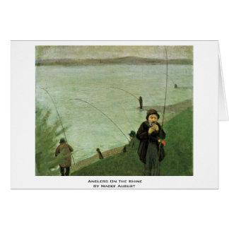 Angler auf dem Rhein durch Macke August Karte