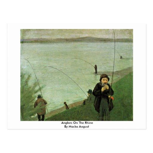 Angler auf dem Rhein durch Macke August Postkarte