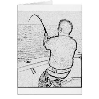 Angler der einen Monsterfisch spielt Grußkarte