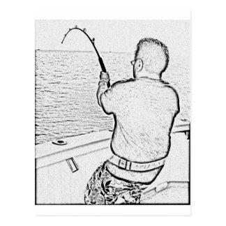 Angler, der einen Monsterfisch spielt Postkarten