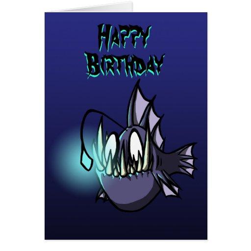 Angler-Fisch-Geburtstags-Karte Grußkarte