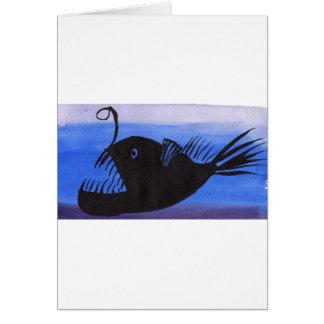 Angler-Fisch-Silhouette Grußkarte