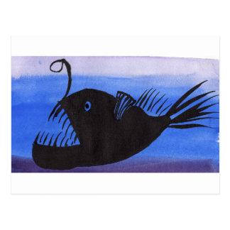 Angler-Fisch-Silhouette Postkarte