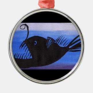 Angler-Fisch-Silhouette Silbernes Ornament