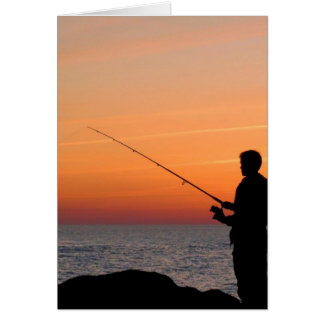 Angler und Sonnenuntergang auf Ufer der Ostsee Grußkarten