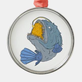 Anglerfish, der oben das Köder-Zeichnen Swooping Silbernes Ornament