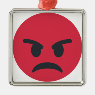 Angry Emoji Quadratisches Silberfarbenes Ornament