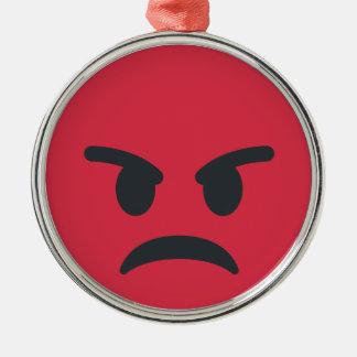 Angry Emoji Silbernes Ornament