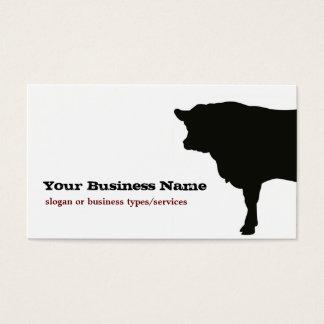 Angus-Kuh-Silhouette-Geschäfts-Karten-Schablone Visitenkarte