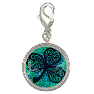 Anhänger, Kleeblatt, keltischer Knoten, Viel Glück Charm