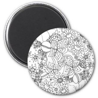 Anhäufung der Blumen Runder Magnet 5,7 Cm